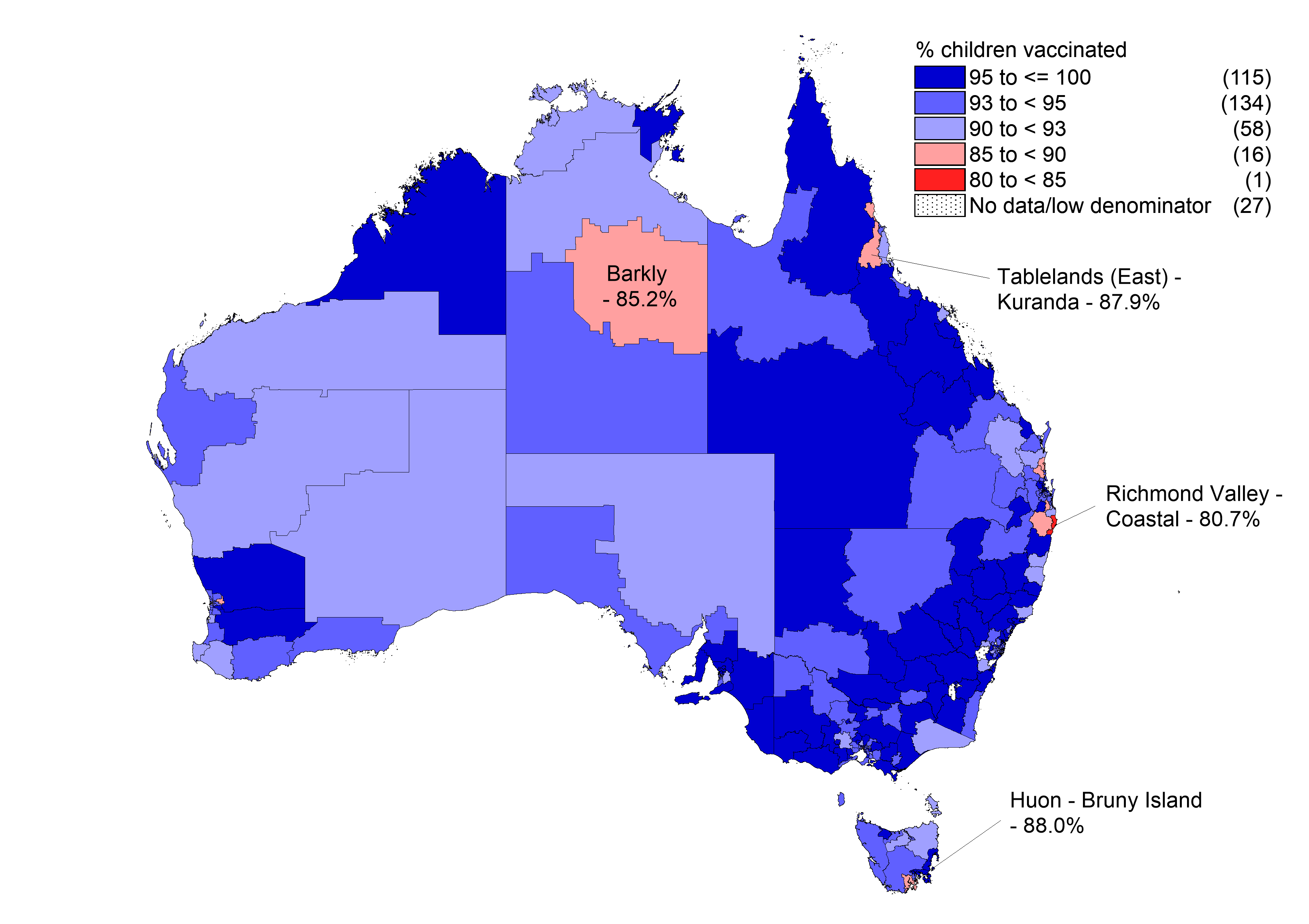 Pneumococcal conjugate (13vPCV) vaccine coverage at 12 months of age (3 doses) by Statistical Area 3, Australia and major capital cities, 2017
