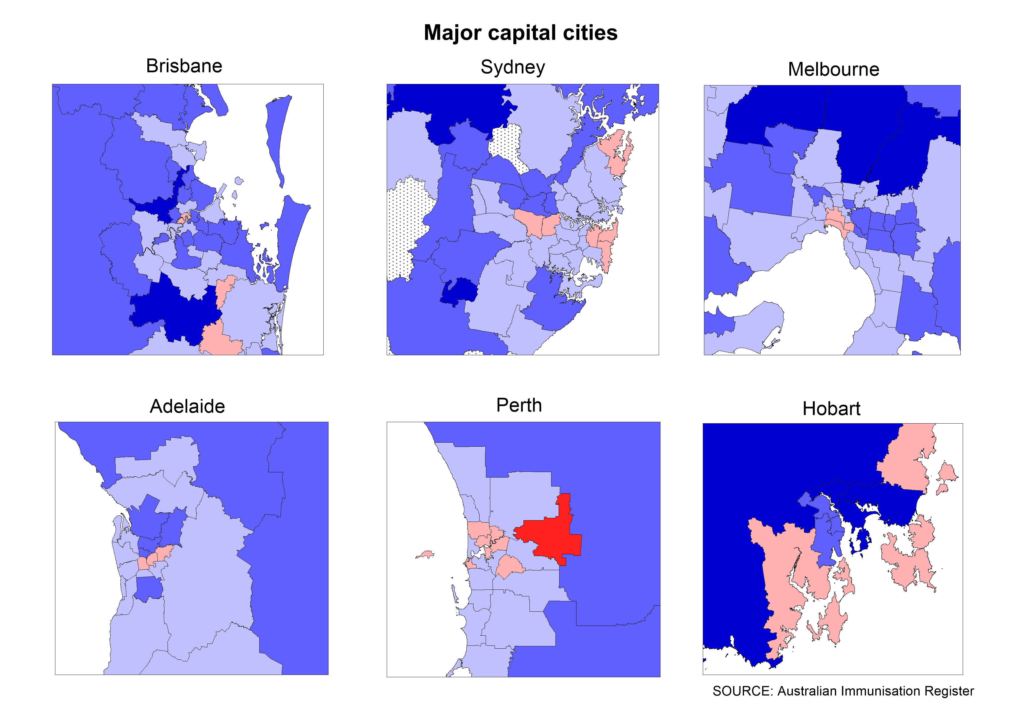 Measles, mumps, rubella (MMR) vaccine coverage at 24 months of age (2 doses) by Statistical Area 3, major capital cities, 2017