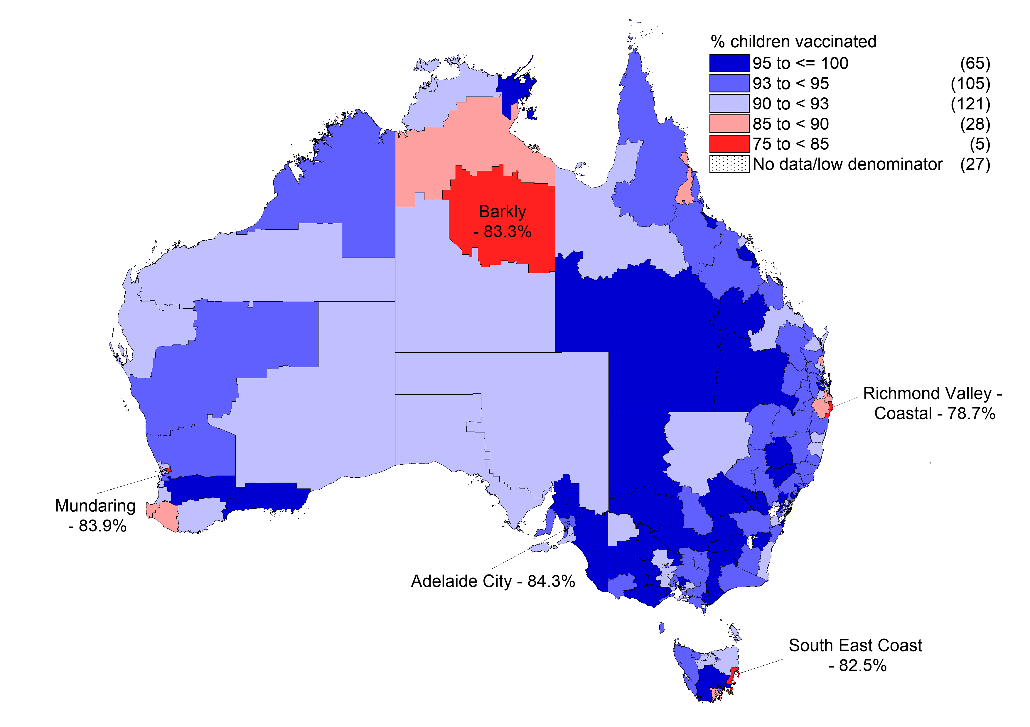 Measles, mumps, rubella (MMR) vaccine coverage at 24 months of age (2 doses) by Statistical Area 3, Australia, 2017